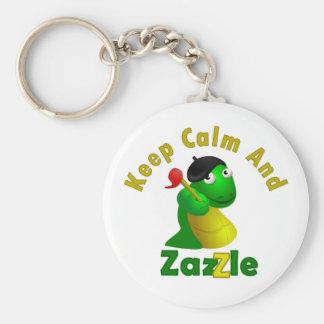 Guarde la calma y Zazzle Llavero Redondo Tipo Pin