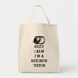 Guarde la calma, yo son una bruja de la cocina bolsa tela para la compra