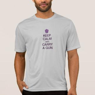 Guarde la camiseta tranquila del arma playeras