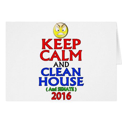 Guarde la casa tranquila y limpia (y el senado) tarjeta de felicitación