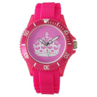 Guarde la corona tranquila (blanca en rosa) reloj