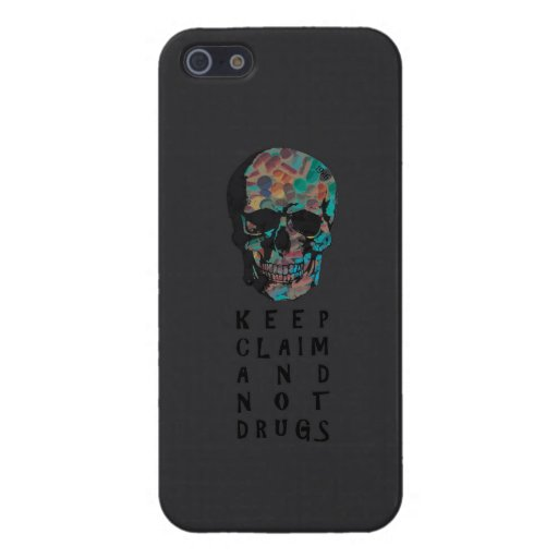 Guarde la demanda y no droga el gráfico del cráneo iPhone 5 carcasas
