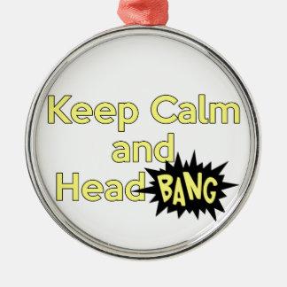Guarde la explosión tranquila y principal adorno navideño redondo de metal