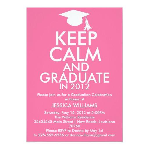 Guarde la graduación tranquila invitacion personal