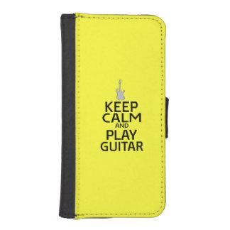Guarde la guitarra eléctrica de la calma y del fundas cartera de iPhone 5