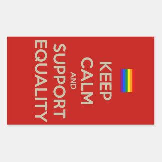 guarde la igualdad tranquila de la ayuda rectangular pegatinas