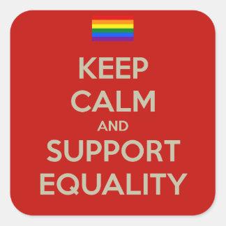 guarde la igualdad tranquila de la ayuda pegatina cuadrada