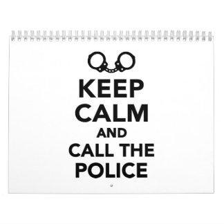 Guarde la llamada tranquila y la policía calendario de pared