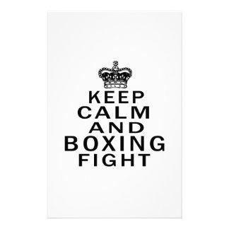Guarde la lucha de la calma y del boxeo papelería personalizada