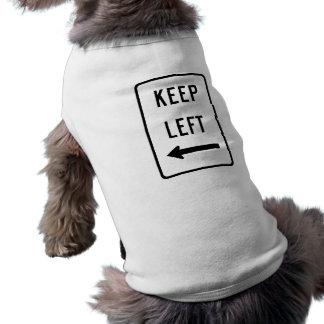 Guarde la muestra izquierda playera sin mangas para perro