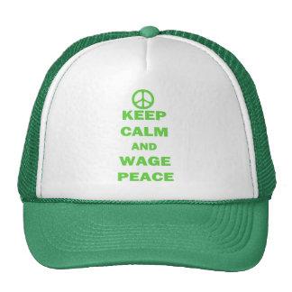 Guarde la paz de la calma y del salario gorro de camionero