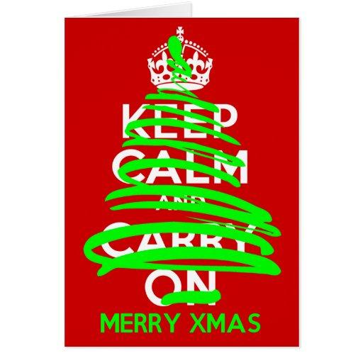 GUARDE la pintada TRANQUILA del árbol de navidad Tarjeta De Felicitación