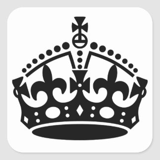 Guarde la plantilla tranquila de la corona pegatina cuadrada