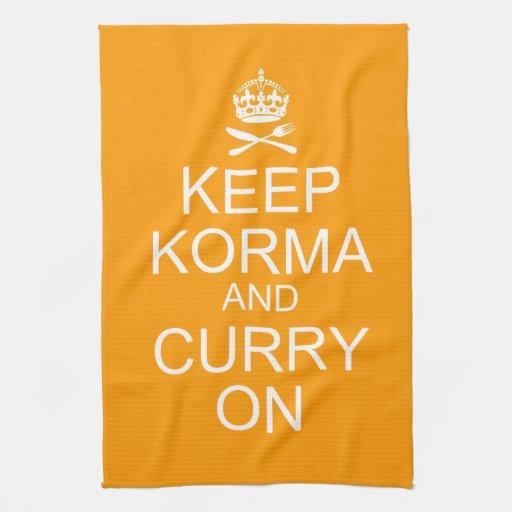 Guarde la toalla de cocina tranquila del curry de
