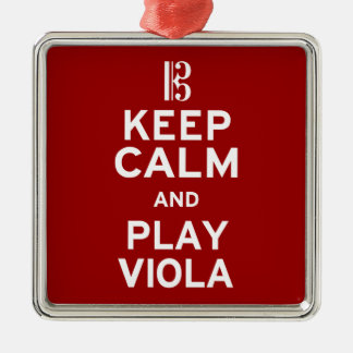 Guarde la viola de la calma y del juego adorno navideño cuadrado de metal