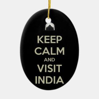guarde la visita tranquila la India Adorno Navideño Ovalado De Cerámica
