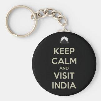 guarde la visita tranquila la India Llavero Redondo Tipo Pin