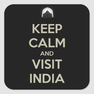 guarde la visita tranquila la India Pegatina Cuadrada