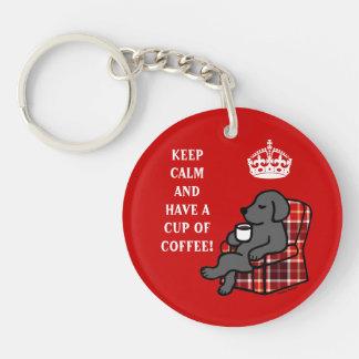 Guarde Labrador negro tranquilo Llavero Redondo Acrílico A Doble Cara