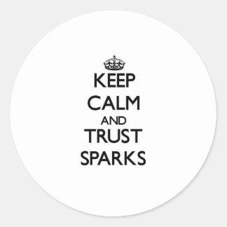 Guarde las chispas de la calma y de la confianza pegatinas redondas
