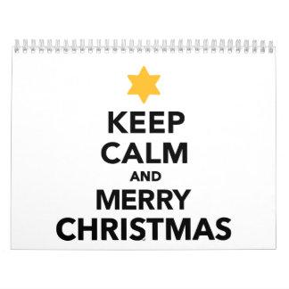 Guarde las Felices Navidad tranquilas y Calendario De Pared