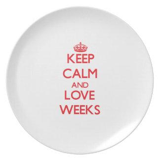 Guarde las semanas de la calma y del amor plato para fiesta