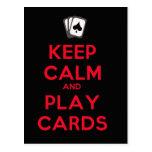 Guarde las tarjetas de la calma y del juego postal