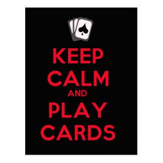 Guarde las tarjetas de la calma y del juego tarjeta postal
