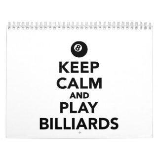 Guarde los billares de la calma y del juego calendarios de pared