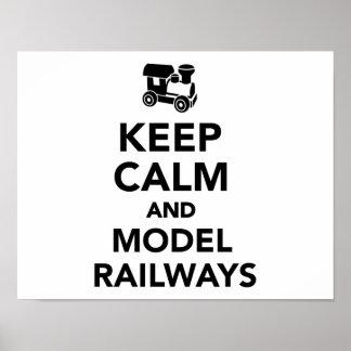 Guarde los ferrocarriles tranquilos y modelo póster