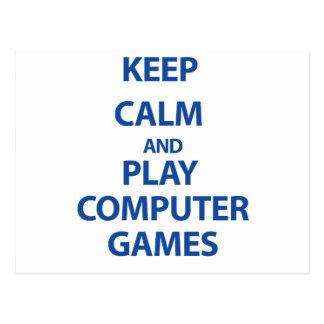 Guarde los juegos de ordenador de la calma y del tarjetas postales