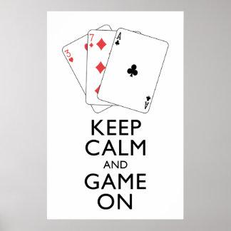GUARDE los juegos de tarjeta de la CALMA Y del Póster