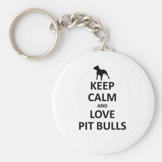 Guarde los pitbulls tranquilos del amor llavero personalizado