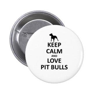 Guarde los pitbulls tranquilos del amor pin redondo de 2 pulgadas