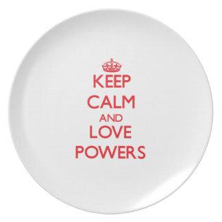 Guarde los poderes de la calma y del amor plato