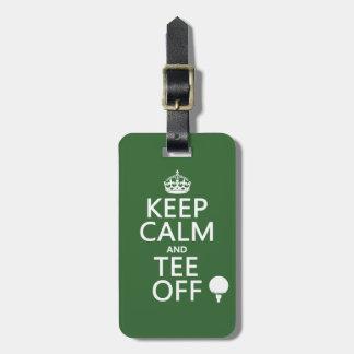 Guarde los presentes del golf de la calma y de la  etiqueta para maleta