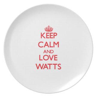 Guarde los vatios de la calma y del amor platos