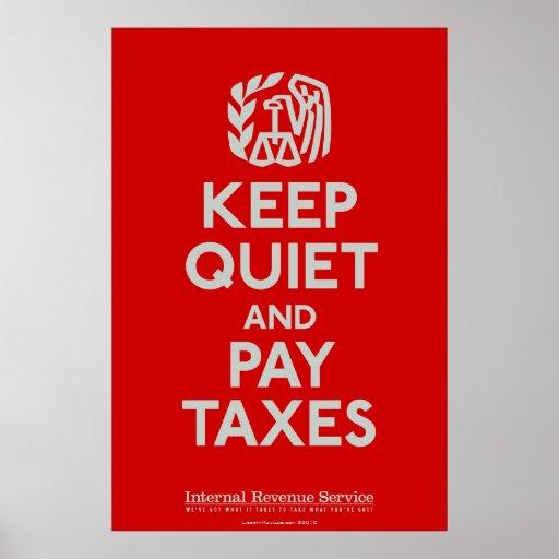 Guarde silenciosamente e impresión de los impuesto posters