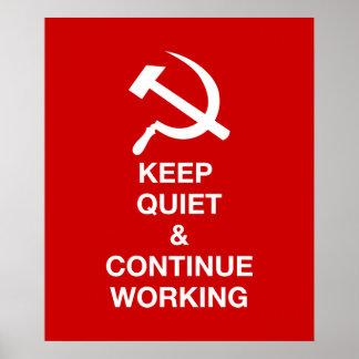 Guarde silenciosamente y continúe trabajando poster