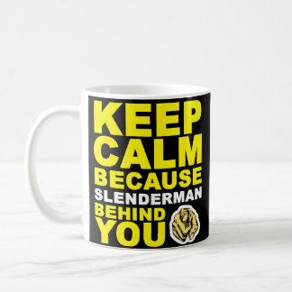 Guarde Slenderman tranquilo detrás de usted Tazas De Café