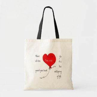 Guarde su bolso del cristiano del corazón bolsa tela barata