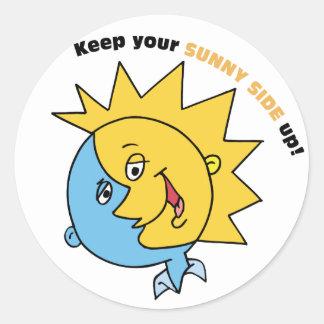 ¡Guarde su lado soleado para arriba! Pegatina Redonda