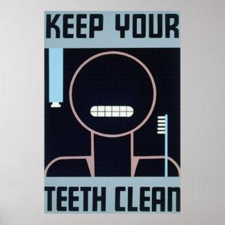 Guarde su poster limpio de los dientes
