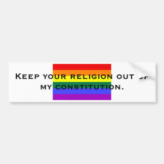 Guarde su religión fuera de mi constitut… pegatina de parachoque