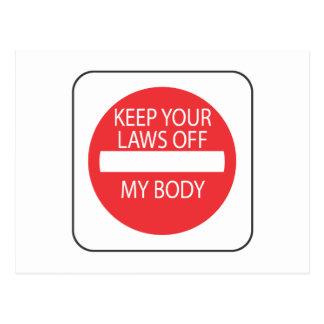 Guarde sus leyes de mi cuerpo tarjetas postales