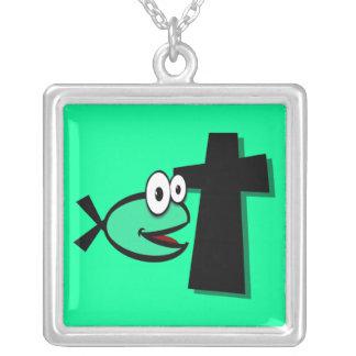 Guarde sus ojos en la cruz colgante cuadrado