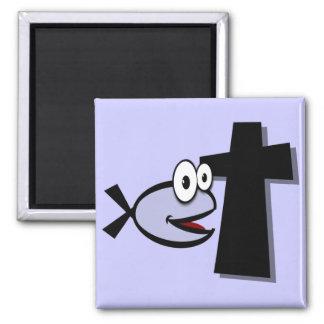 Guarde sus ojos en la cruz imán cuadrado