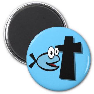 Guarde sus ojos en la cruz imán redondo 5 cm