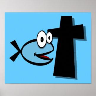 Guarde sus ojos en la cruz póster