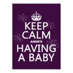 Guarde X tranquilo está teniendo un bebé (en Invitación 13,9 X 19,0 Cm